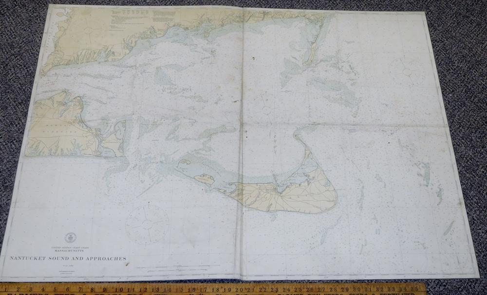 Vintage 1916 Nantucket Sound Approaches Us Coast And Geodetic - Us-coast-and-geodetic-survey-maps