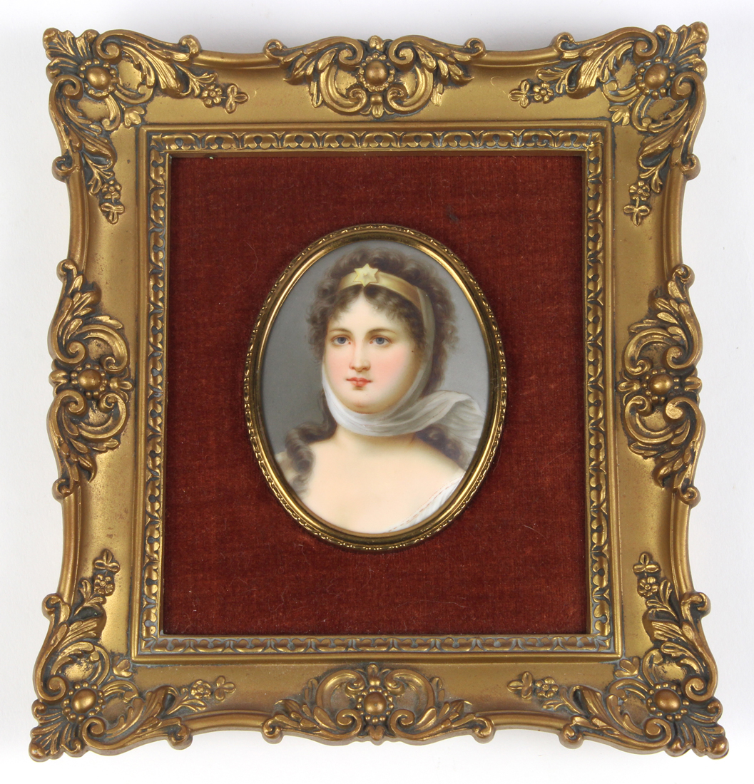 Continental hand painted miniature porcelain plaque