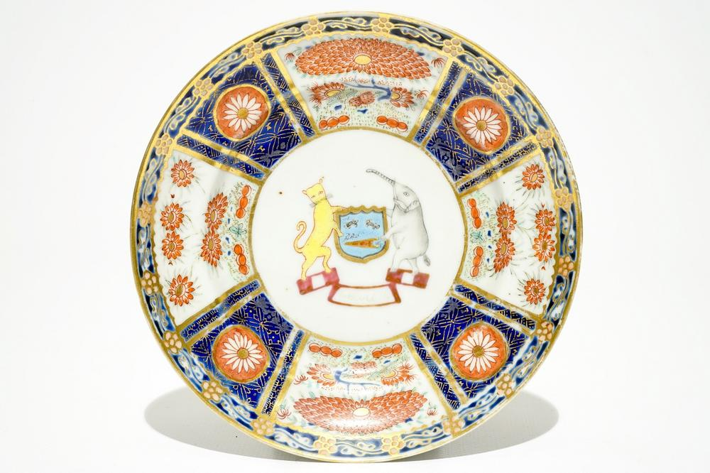 A Chinese rose-imari armorial plate with coat of arms of 'Wolterbeek',  Qianlong