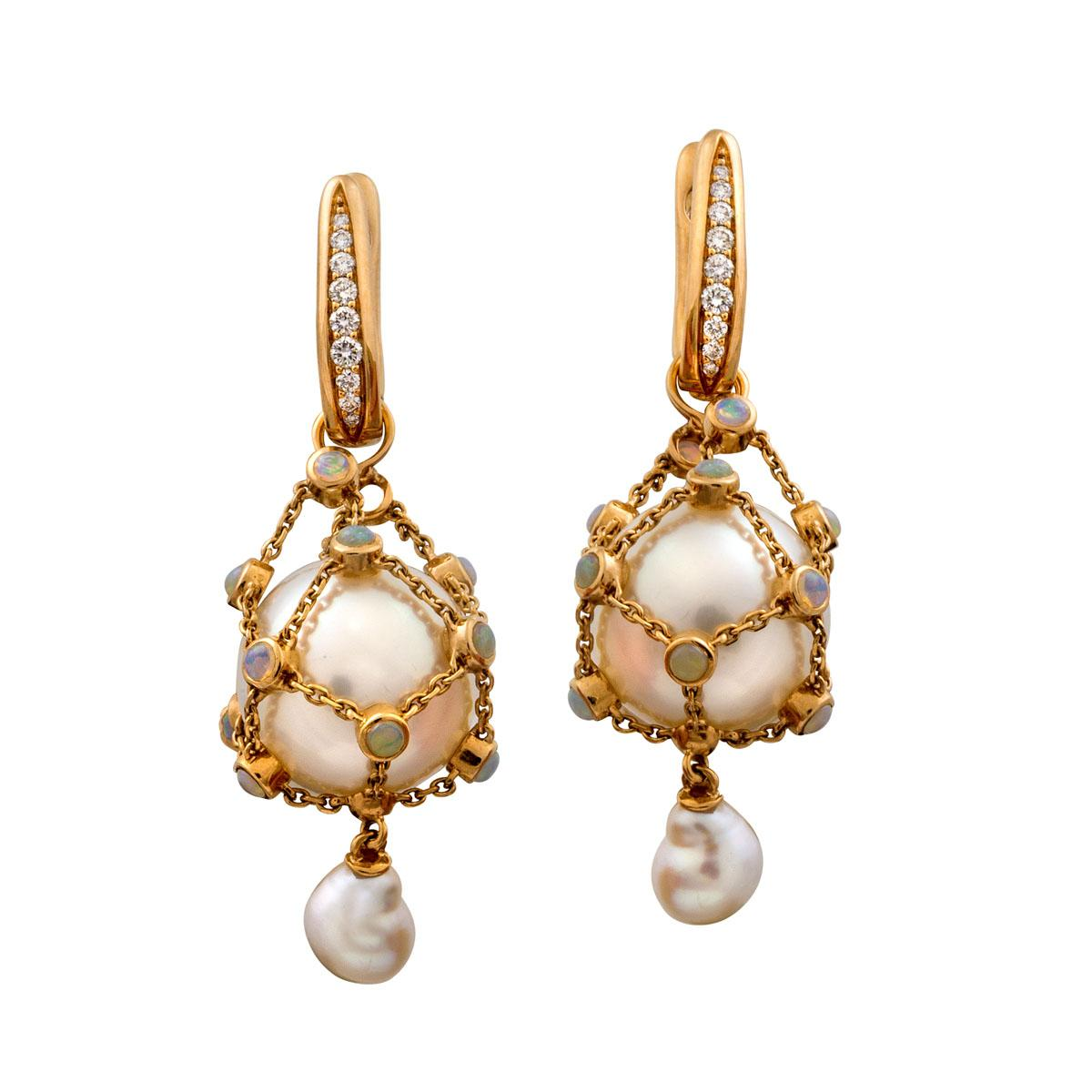 Pair Of 18ct Rose Gold White Star South Sea Pearl Keshi Opal And Diamond Lavalier Pendant Earrings Paspaley Sotheby S Australia