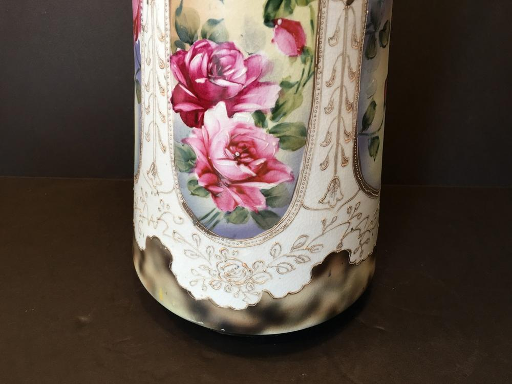 Antique Japanese Large Nippon Vase With Gilt Handles 16 12 High