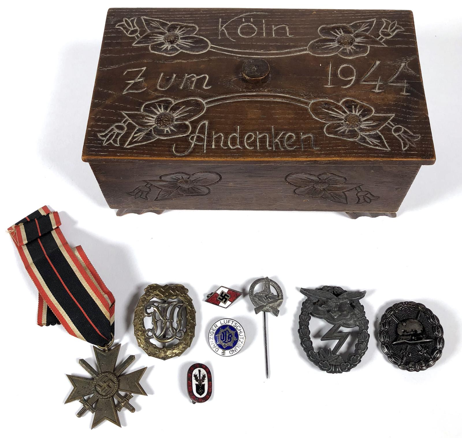 WWII Nazi Pins Badges Medals in Carved Box | Blackwell Auctions