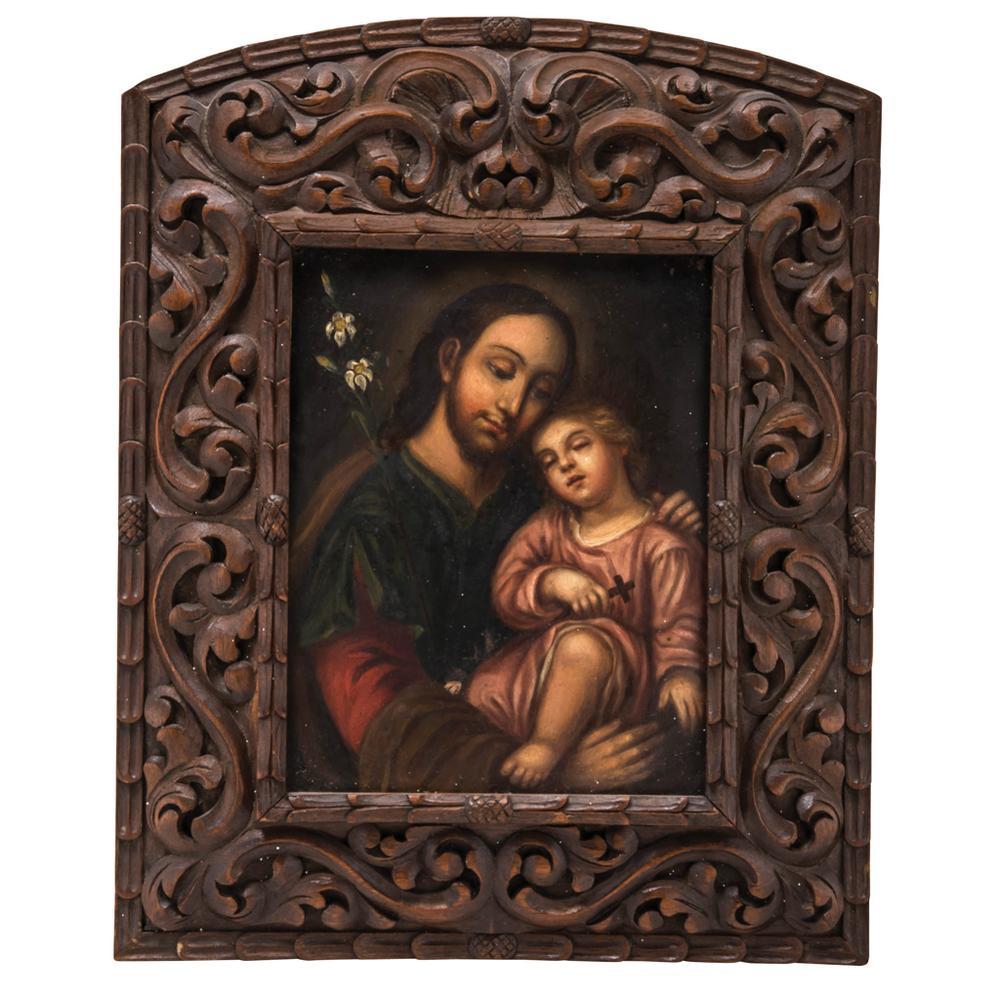 SAN JOSÉ CON EL NIÑO. MÉXICO, SIGLO XIX. Óleo sobre lámina de cobre, con marco tallado en madera. 26 x 20 cm