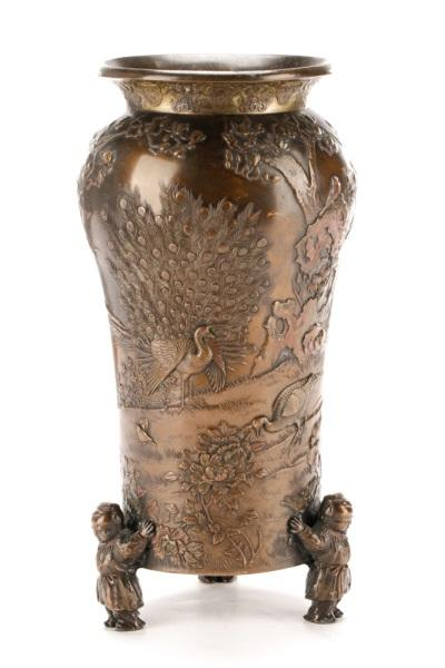 Japanese Meiji Bronze Vase With Figural Feet Lofty Marketplace