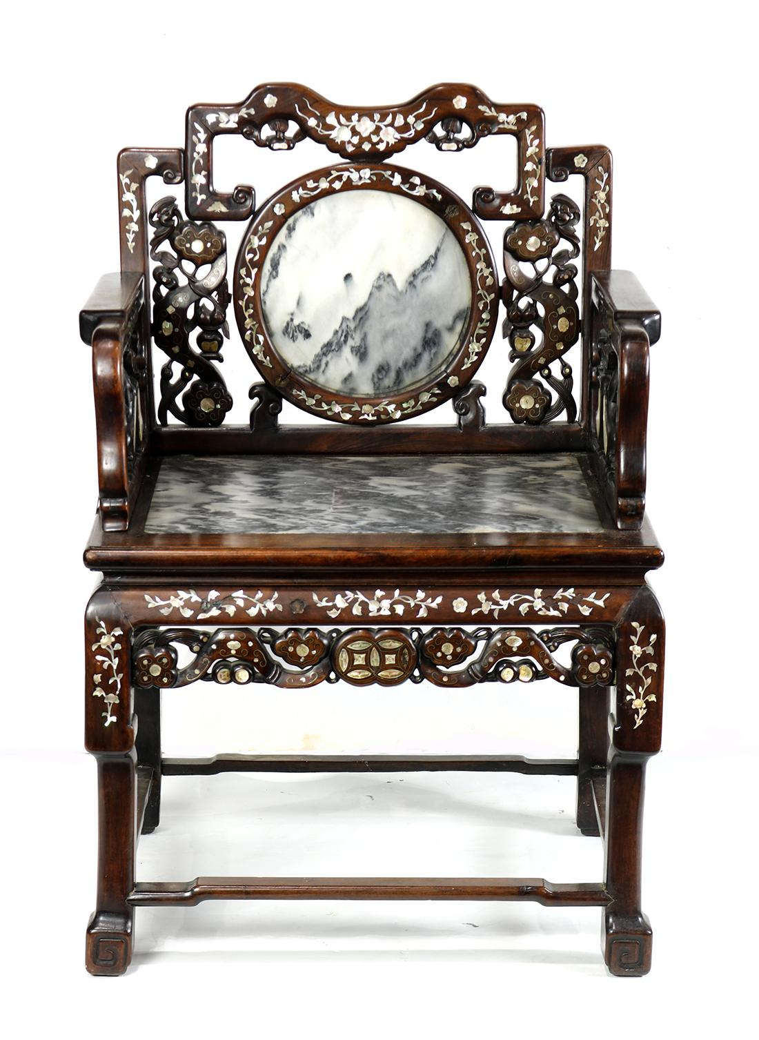Chinese Marble And Mother Of Pearl Inlaid Chair