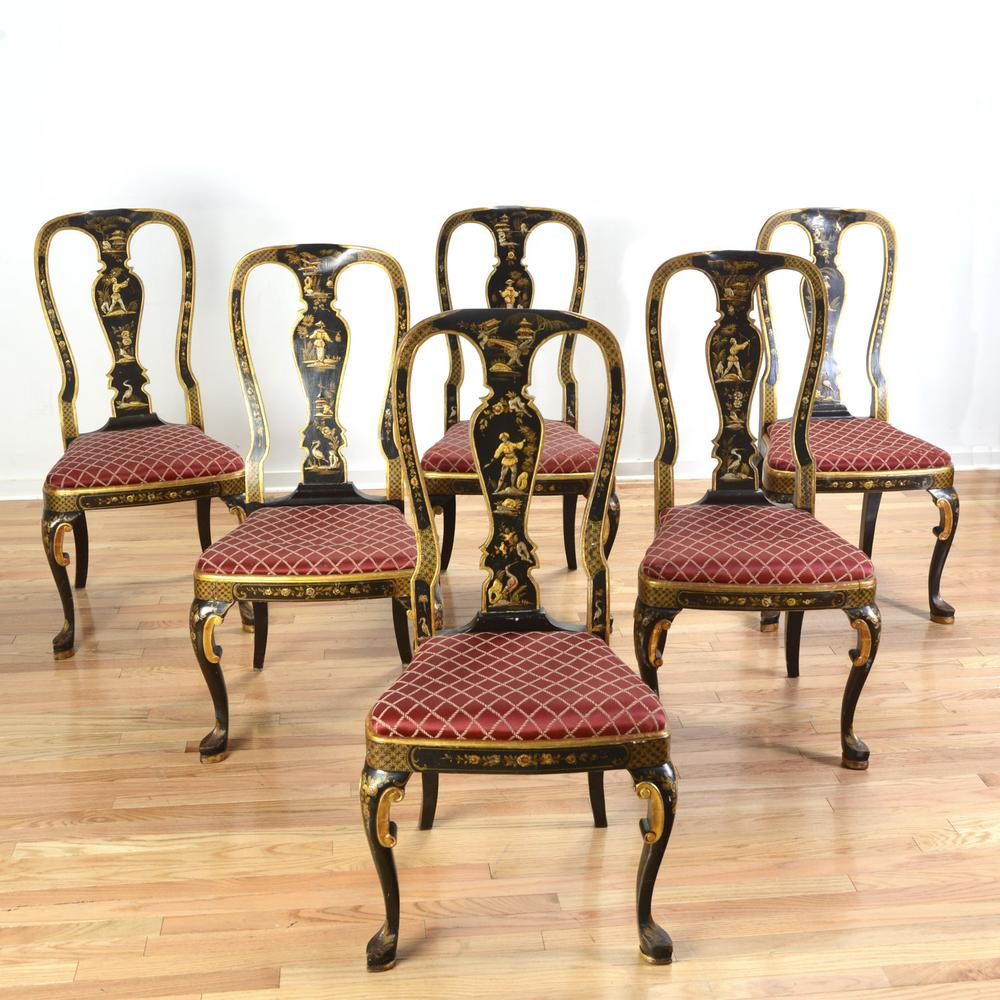 Brilliant 6 Queen Anne Style Black Japanned Dining Chairs Creativecarmelina Interior Chair Design Creativecarmelinacom