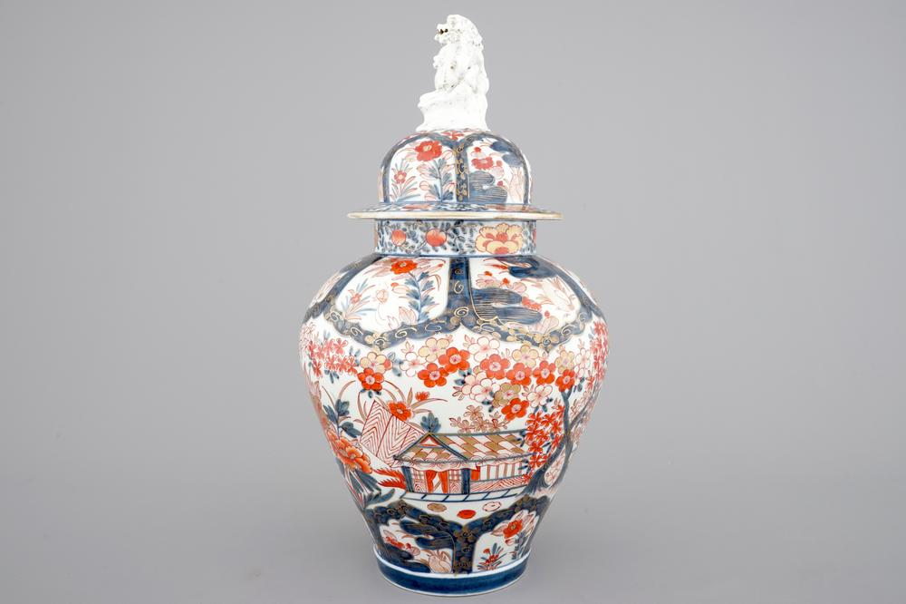 A Tall Japanese Imari Vase 1718th C And Two Chinese Famille Rose