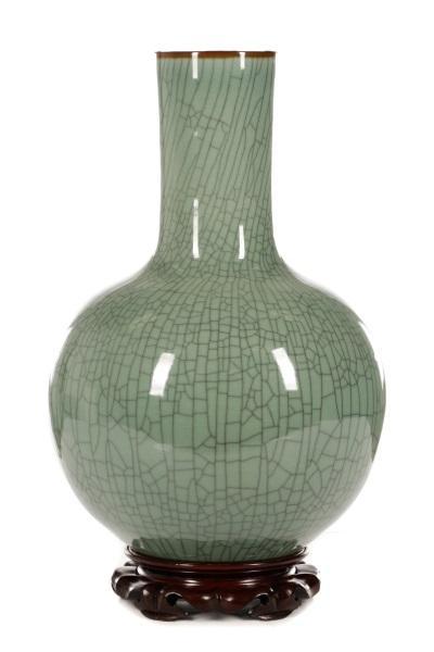 Chinese Ge Ware Style Large Bottle Vase On Stand Lofty Marketplace