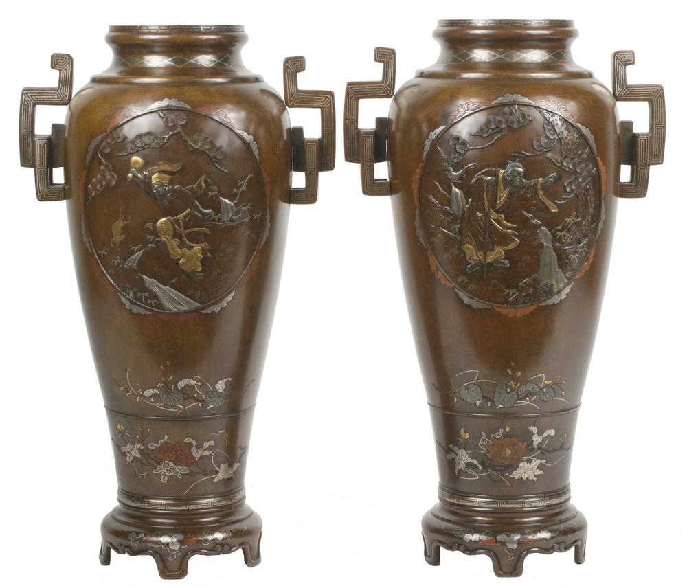 Design Large Vases pair of large japanese mixed metal vases lofty marketplace vases