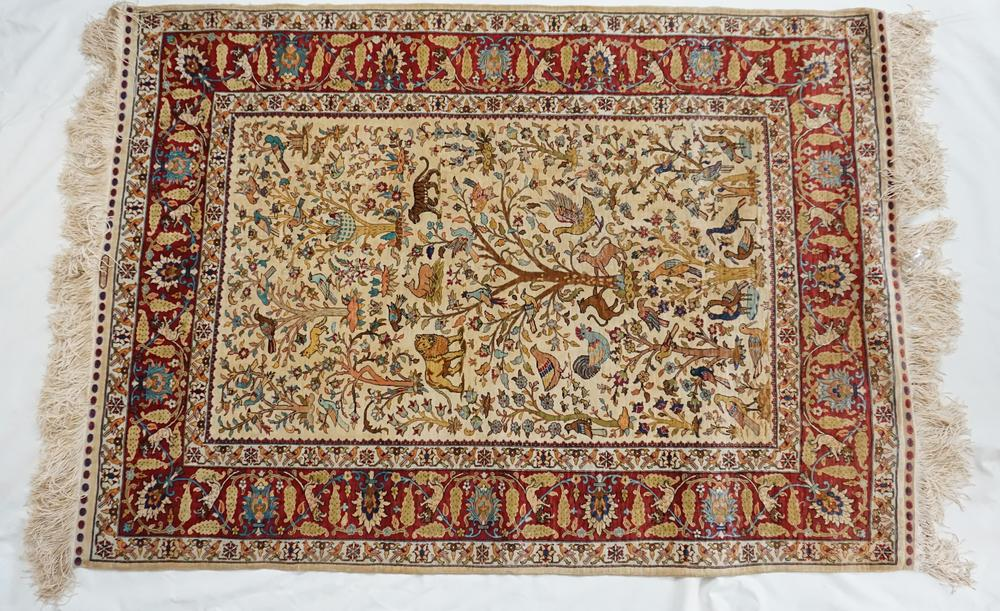 Fine Silk Nasr Tree Of Life Rug Lofty