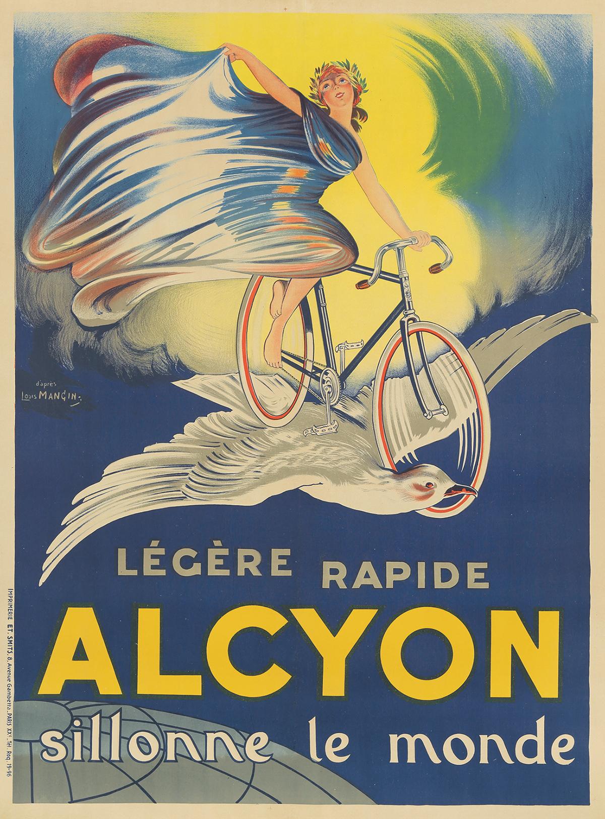 Legere Rapide Alcyon Bicycle Paris France French Advertisement Art Poster Print