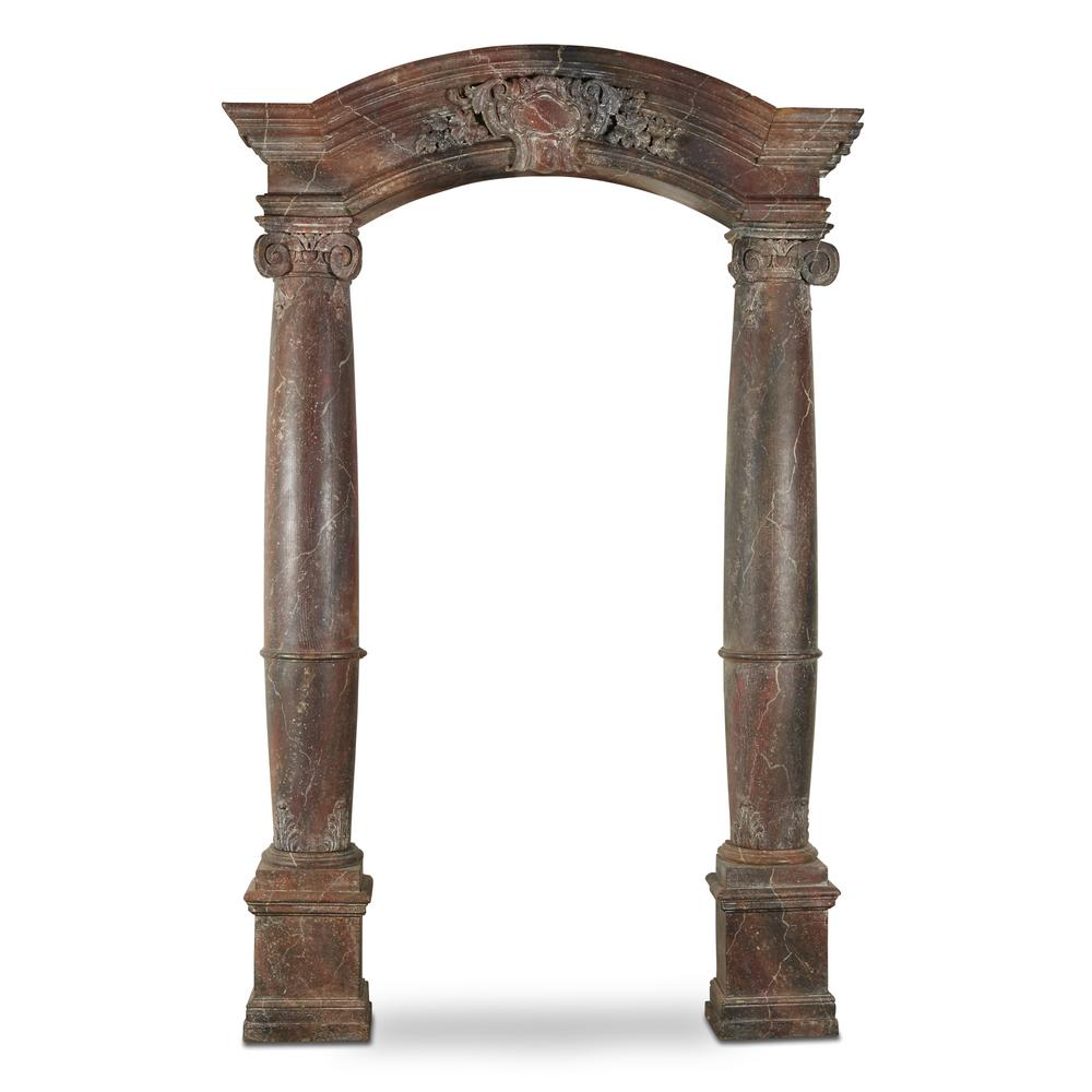 A French Baroque Style Faux Marbre Architectural Door Surround 19th