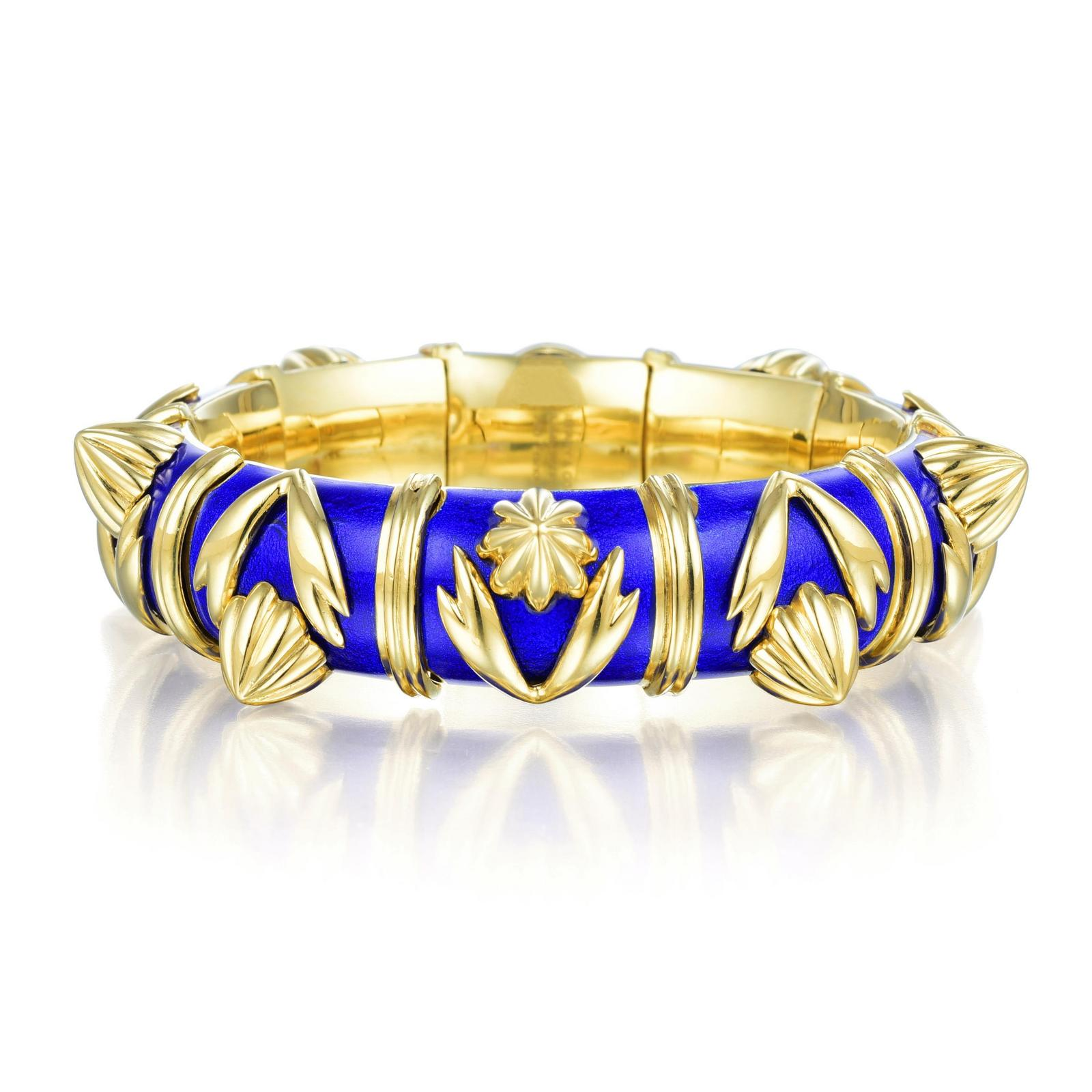 b5be277a2 Tiffany & Co. Schlumberger Gold and Enamel Bangle Bracelet | Fortuna ...