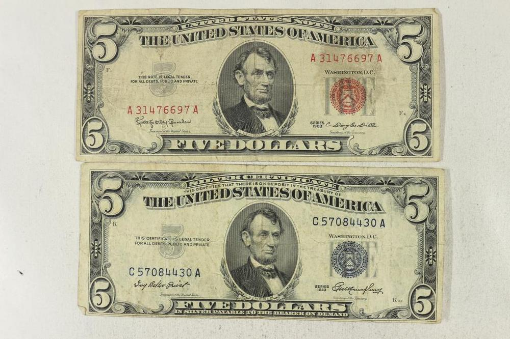 1953 $5 SILVER CERTIFICATE & 1963 $5 US NOTE – Lofty Marketplace