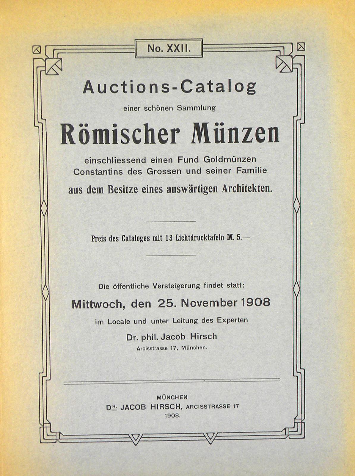 Hirsch Sale Xxii Roman Coins Kolbe Fanning Numismatic Booksellers