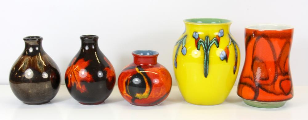 Five Poole Pottery Vases Tallest 16cm Lofty Marketplace