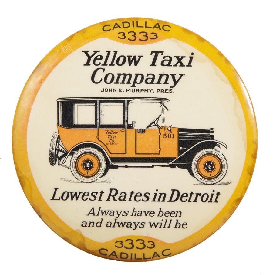 Yellow Cab Paperweight Mirror