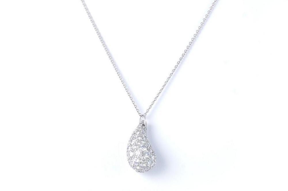 5b03036b4 A Tiffany & Co. by Elsa Peretti Teardrop Platinum and Diamond Pendant –  Lofty Marketplace