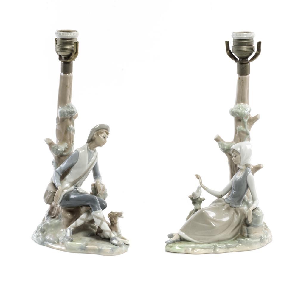 de con Par porcelana luzConsta contemplando palomo de lámparas depastor y mesaEn brillantePara doncella Lladróacabado 1 qMVUpSz