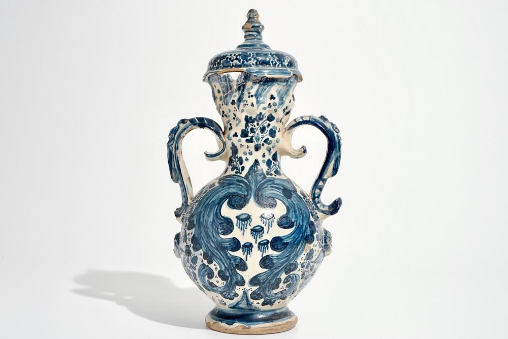 A Spanish Pottery Blue And White Two Handled Vase And Cover Triana