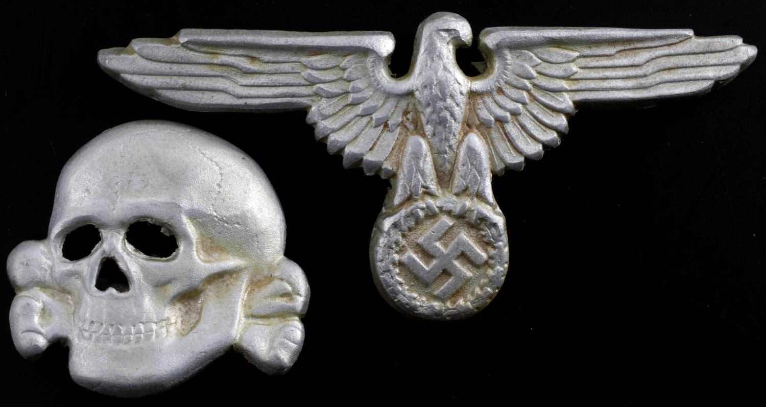 WWII GERMAN SS EAGLE & TOTENKOPF VISOR CAP BADGE | Affiliated Auctions
