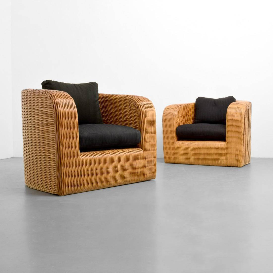 Pair Of Karl Springer Custom Wicker Pullman Chairs | Palm Beach Modern  Auctions